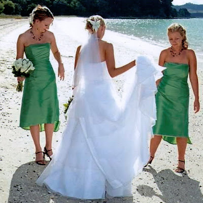 Lisa's bridesmaids - Lime silk side-pleated dresses with assymetric hem