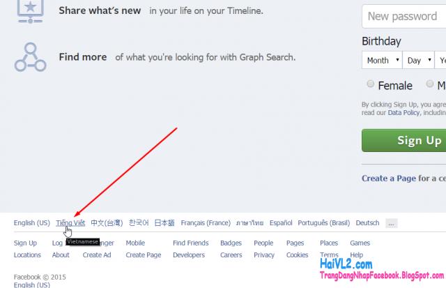 đổi trang đăng nhập facebook sang tiếng việt