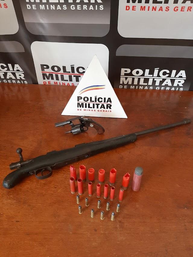POLÍCIA MILITAR REALIZA OPERAÇÃO CONTRA O TRÁFICO E APREENDE 02 (DUAS) ARMAS DE FOGO EM MIRADOURO/MG