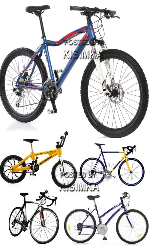 Mountain and racing bicycle over white background