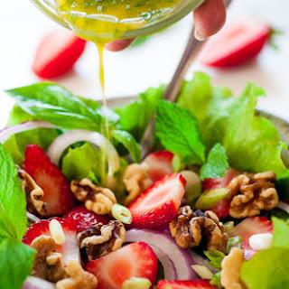 Fresh Greens Salad with Basil Mint Vinaigrette.