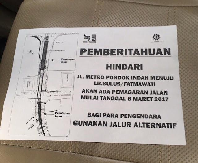 INFO MACET : Hindari Jalur Metro Pondok Indah Menuju Lebak Bulus dan Fatmawatie Mulai 8 Maret 2017