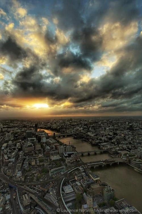London shard at sunset