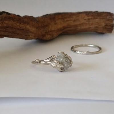 wedding ring with raw diamond