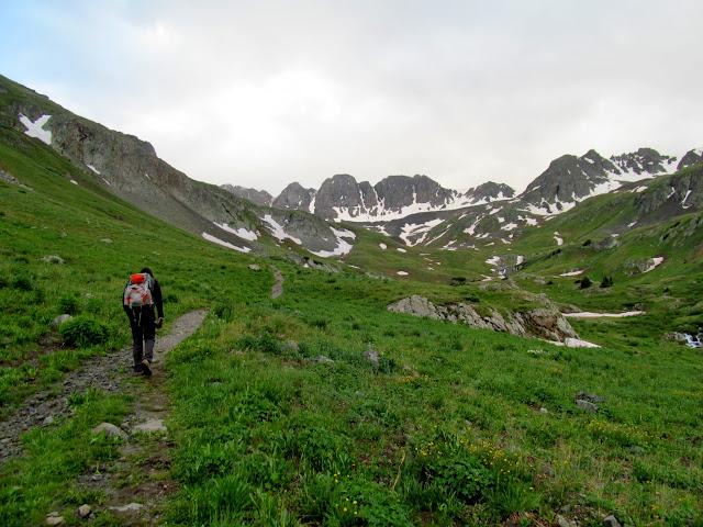 Ascending the Handies Peak trail