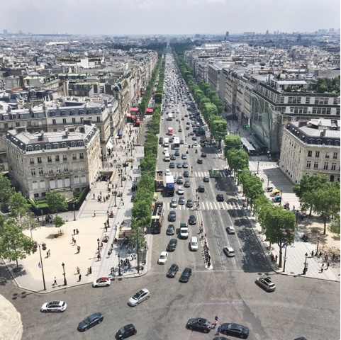 View down the Champs Elysees from the Arc De Triomphe
