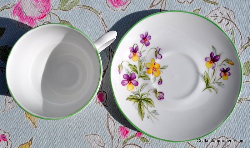 Viola Green Rim China Teacup & Saucer
