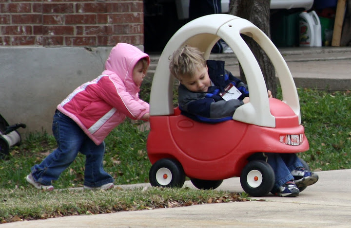 Sibling power steering - a sweet moment.