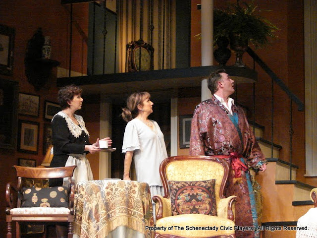 Jean Carney, Benita Zahn and Randy McConnach in THE ROYAL FAMILY (R) - December 2011.  Property of The Schenectady Civic Players Theater Archive.
