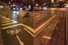 La bici en la reforma de la calle O´Donnell entre Alcalá y Menéndez Pelayo