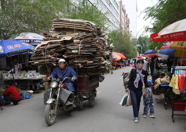 motorized tricycle cart with large load in Xining, Qinghai, China