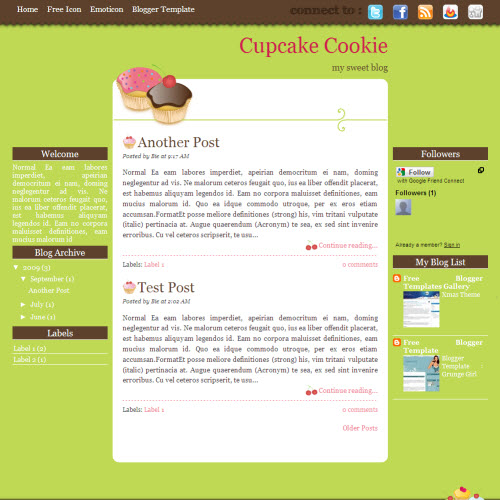 Cupcake Cookie,blogger,Templates for blogger