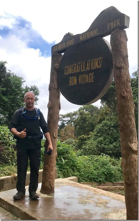 Roy Price begins his walk up Mount Kilimanjaro