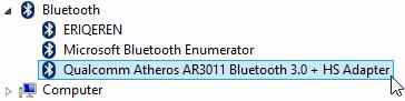 Adapter bluetooth yang digunakan