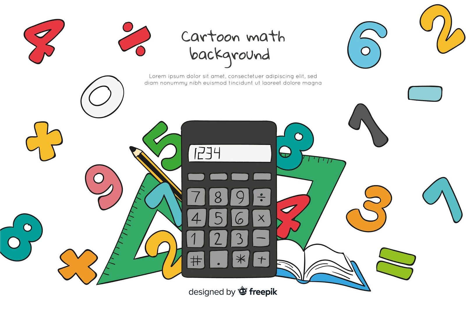 Cartoon Math Elements Background Free Download Vector CDR, AI, EPS and PNG Formats