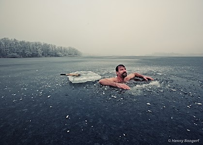 Wim Hof taking it easy after a swim under the ice.