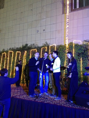 A group of German Youngsters singing at meetup in Delhi organized by Internations, a global expat network