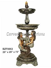 Bronze, Fountain, Mermaid, Statue, Tiered