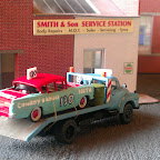 Banger racing 1970s style !, the Bedford was built with a RTI cab (BED4a) with a modified BT models chassis and a scratchbuilt body, the Cresta is from Oxford Diecast suitably repainted to look like a stock car from the 70s.