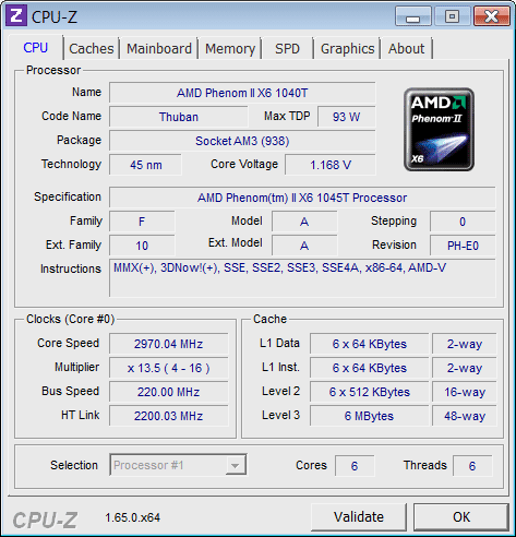 Screenshot of CPU-Z v.1.65 System Info PC Software Free Download at Alldownloads4u.Com