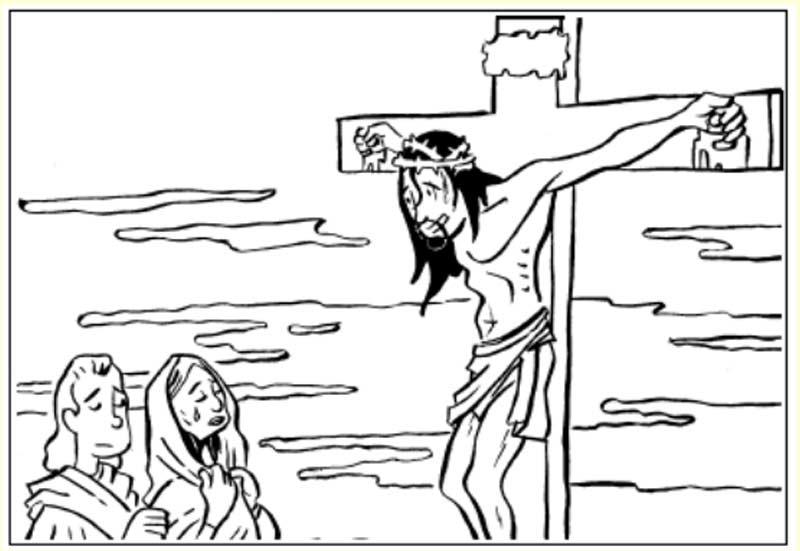 Pinto Dibujos: María llorando por Jesús en la cruz – para colorear