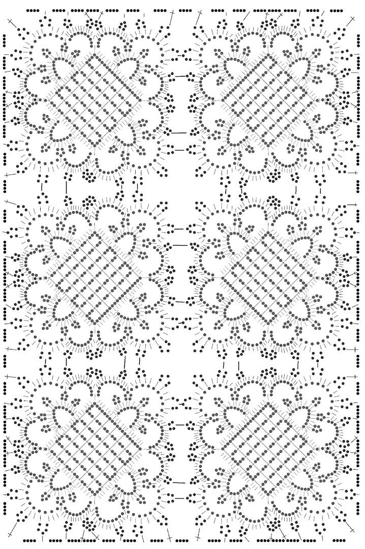 Вязание крючком. Прямоугольная салфетка. Схема.