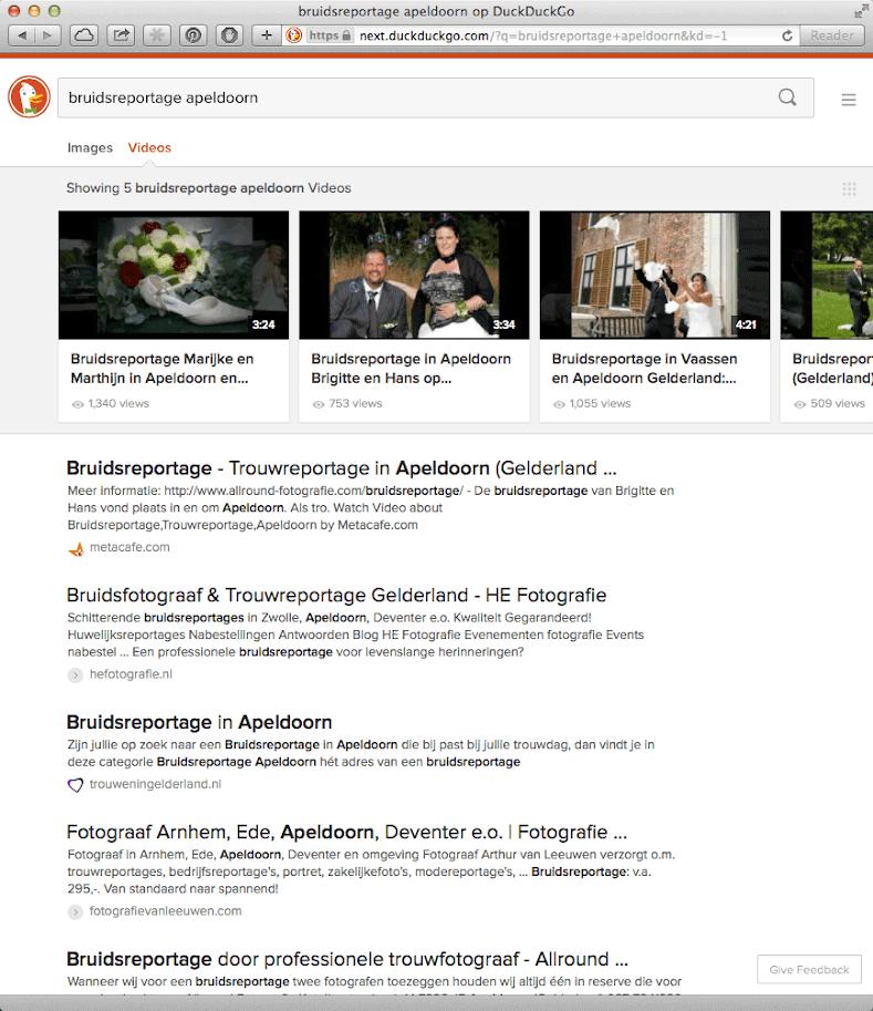Video's zoeken met DuckDuckGo