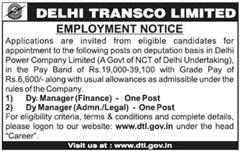 Delhi Transco Limited Jobs 2016