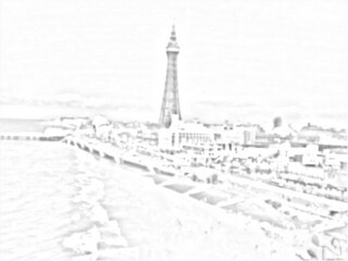 Blackpool tower on coast sketch