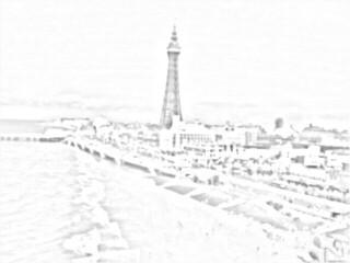 Blackpool tower on coast sketch