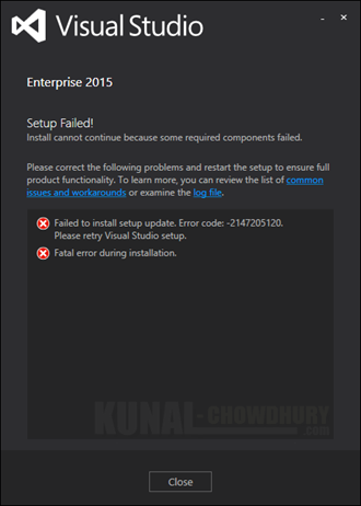 Visual Studio 2015 - Failed to install setup update. Error code -2147205120 (www.kunal-chowdhury.com)