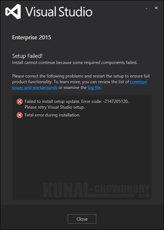 Visual Studio 2015 - Failed to install setup update. Error code -2147205120 (www.kunal-chowdhury.com)