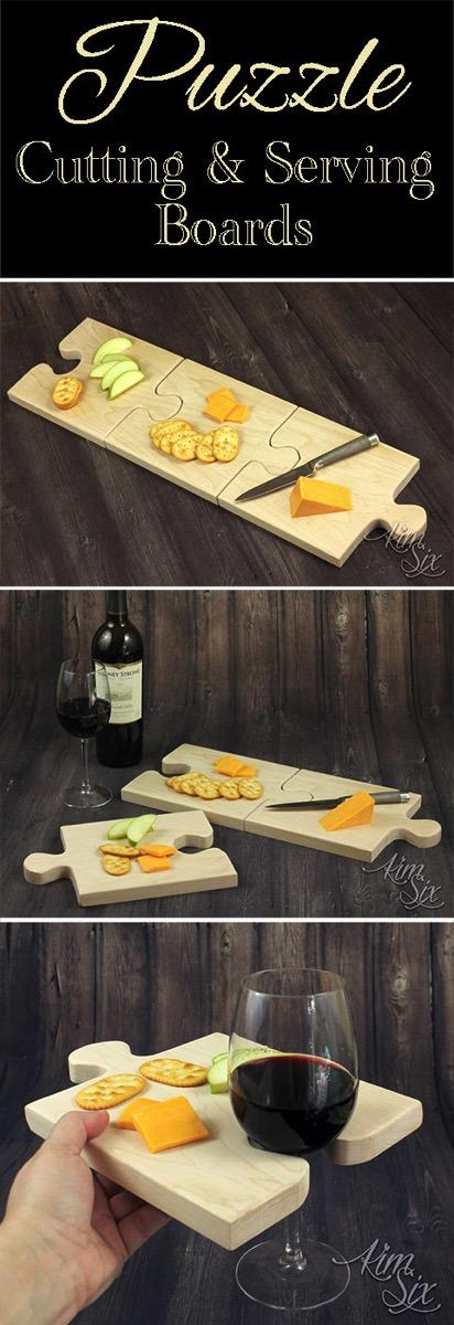 A set of puzzle piece shaped cutting boards that combine together to form one large cutting board, or seperated can be used individually as serving trays with built in wine glass holders