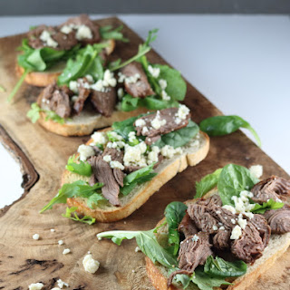 Open-Face Marinated Steak Sandwiches with Arugula and Creamy Blue Cheese