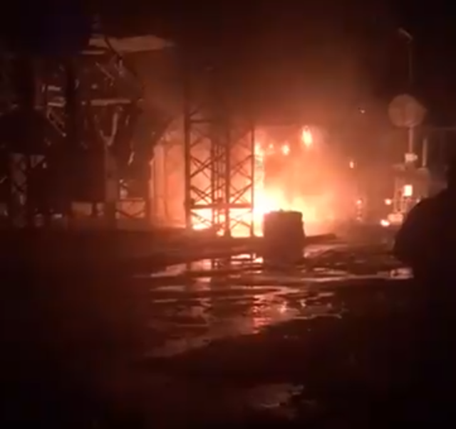 Fire burns after an explosion at a power substation in Río Piedras, Puerto Rico, on 11 February 2018, plunging a number of municipalities into darkness: Trujillo Alto, Guaynabo, Carolina, Caguas, Juncos, and parts of San Juan. Photo: NotiUno / Twitter