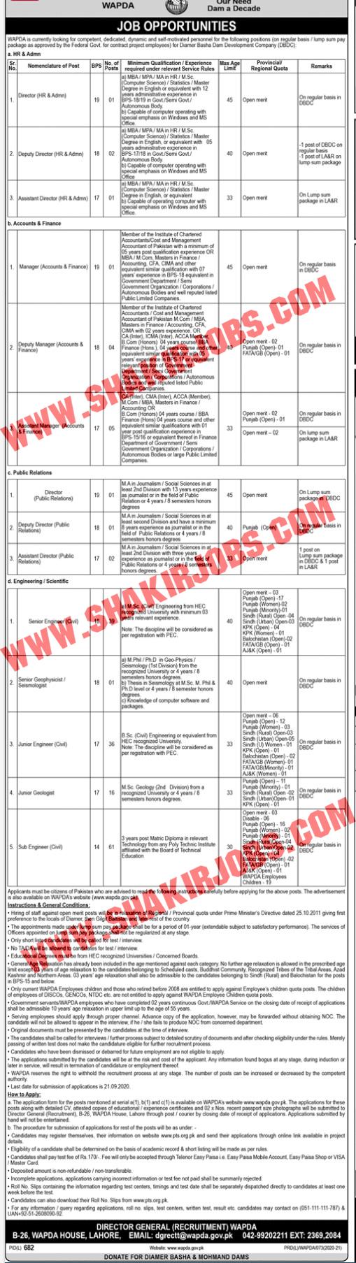 Jobs in WAPDA Jobs September 2020 (171 Posts)