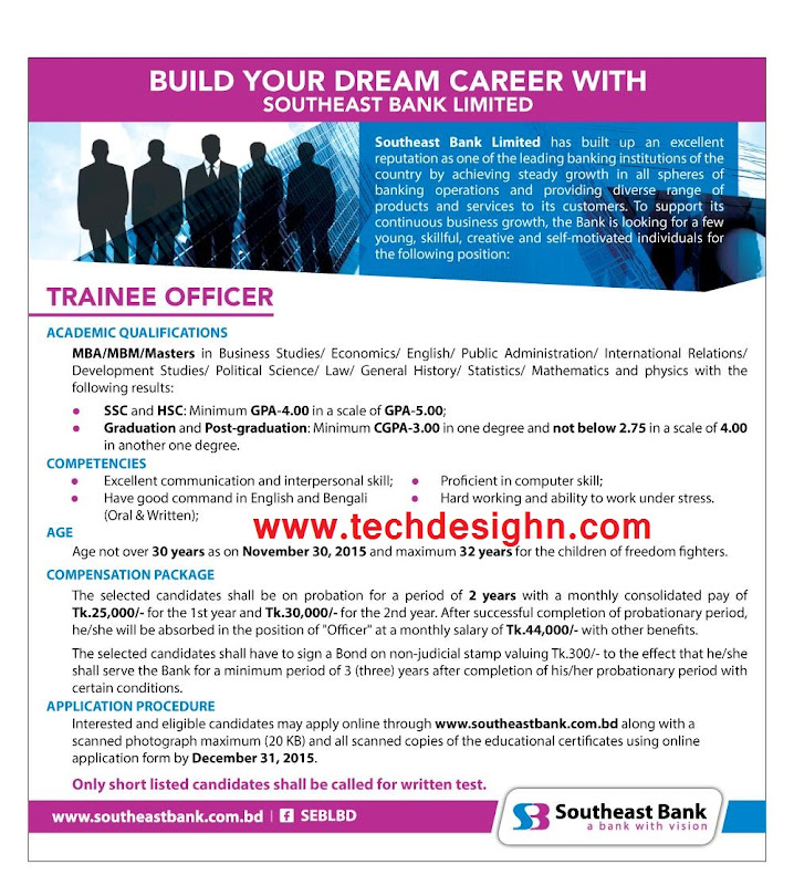 southeast bank limited officer post