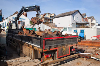 Photo: Scrap steel from the old piles and joists leaving site on 24 March (Hamo Thornycroft)