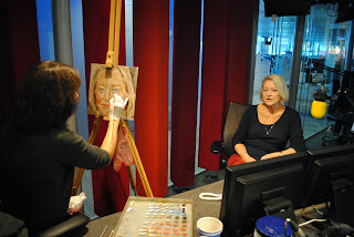 Stella Tooth painting a study for a portrait of BBC's Kate Adie