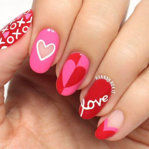 25+ Amazing Red Gel Nail Art Designs For Valentine's Day For 2018