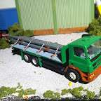 DAF CF 6x2 flat bed loaded with steel .. a local firm run similar lorrys . its an rti cab . with a scratch built chassis and  load bed . the steel is painted H section evergreen plasticard