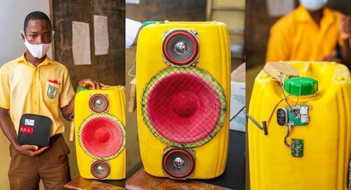 Junior secondary student creates Bluetooth speaker using jerrycan