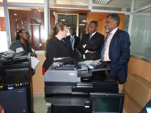 DPP Noordin Haji with DCI director George Kinoti after receiving two printers from the British High Commission on Friday, October 12, 2018. /COURTESY