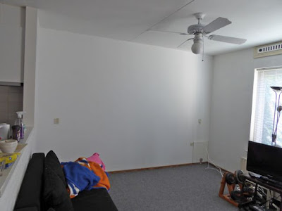 Situatie voor plaatsing bolderwand, woonkamer