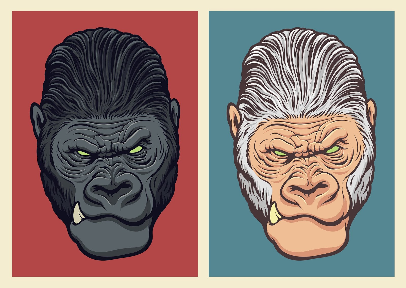 Albino Gorilla Illustration Free Download Vector CDR, AI, EPS and PNG Formats