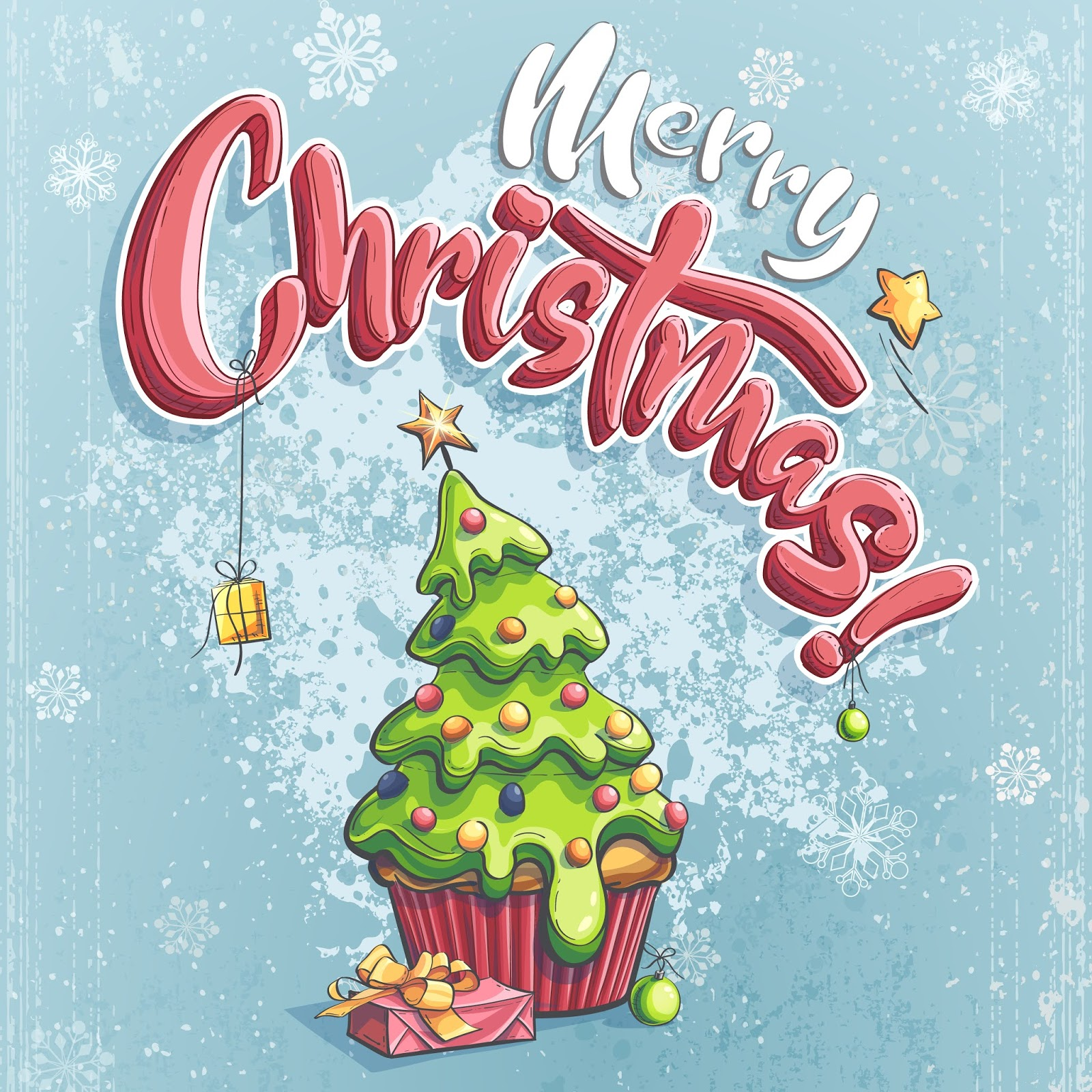 Vector Merry Christmas Illustration With Gift Tree Free Download Vector CDR, AI, EPS and PNG Formats