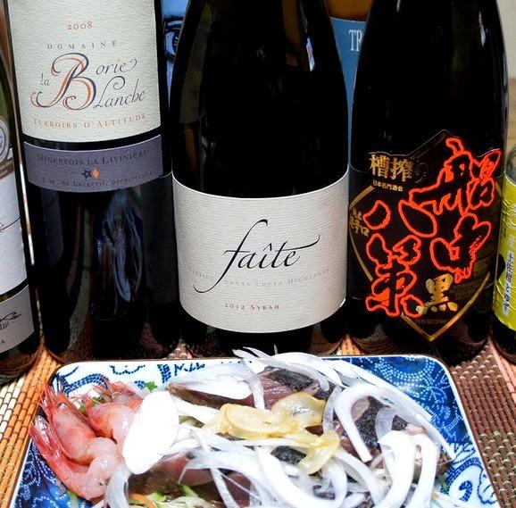 カツオと濃い赤ワインも合います