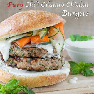 Fiery Chili Chicken Burgers with Cool Lemon Mint Yogurt Sauce