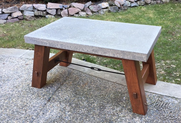 Modern Industrial Concrete Coffee Table With Turnbuckle