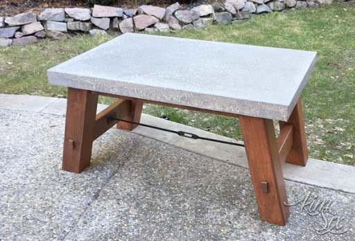 Modern Industrial Concrete Coffee Table With Turnbuckle Hardware